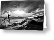 Storm Paddler Greeting Card by Sean Davey