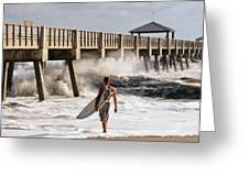 Storm Surfer Greeting Card by Laura  Fasulo