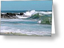Stormy Lagune - Blue Seascape Greeting Card by Ben and Raisa Gertsberg