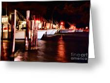 Stormy Night In The Marina - Outer Banks Greeting Card by Dan Carmichael