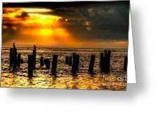 Stormy Skies At Sunrise Outer Banks Greeting Card by Dan Carmichael