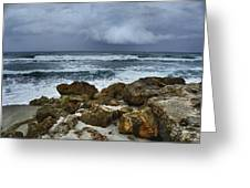 Stormy Sky And Ocean Waves Greeting Card by Julie Palencia