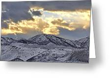 Stormy Sunset Over Snow Capped Mountains Greeting Card by Tracie Kaska