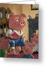 Story Telling Pig With Family Greeting Card by Martin Davey
