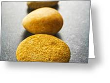 Straight Line of Brown Pebbles on Dark Background Greeting Card by Colin and Linda McKie