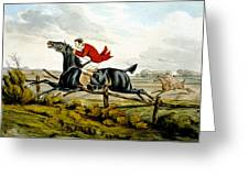 Straight Through The Fence From Qualified Horses And Unqualified Riders Greeting Card by Henry Thomas Alken