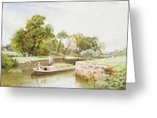Stratford Lock Greeting Card by Arthur Claude Strachan