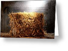 Straw Bale in Old Barn Greeting Card by Olivier Le Queinec