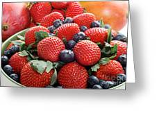 Strawberries Blueberries Mangoes - Fruit - Heart Health Greeting Card by Andee Design