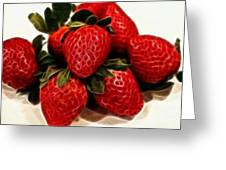 Strawberries Expressive Brushstrokes Greeting Card by Barbara Griffin