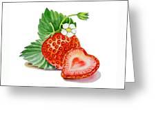 Strawberry Heart Greeting Card by Irina Sztukowski