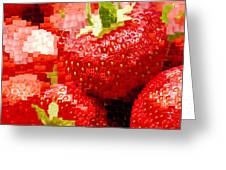 Strawberry Mosaic Greeting Card by Anne Gilbert