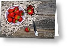 Strawberry Vintage Greeting Card by Jane Rix