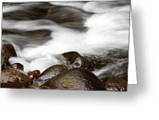 Stream flowing  Greeting Card by Les Cunliffe