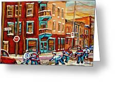 Street Hockey Practice Wilensky's Diner Montreal Winter Street Scenes Paintings Carole Spandau Greeting Card by Carole Spandau
