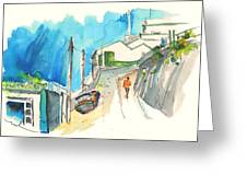 Street In Ericeira In Portugal Greeting Card by Miki De Goodaboom