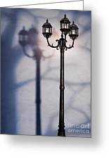 Street Lamp At Night Greeting Card by Oleksiy Maksymenko