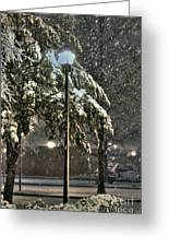 Street Lamp In The Snow Greeting Card by Benanne Stiens