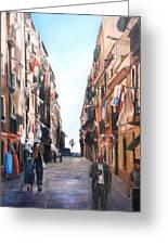 Street Scene Barcelona Greeting Card by Robina Osbourne