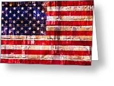 Street Star Spangled Banner Greeting Card by Delphimages Photo Creations