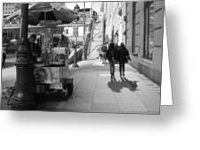 Street Vendor And Stairs In New York City Greeting Card by Dan Sproul