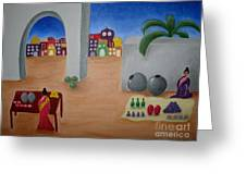 Street Vendors Greeting Card by Victoria Lakes
