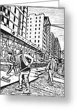 Street Work In New York Greeting Card by William Cauthern