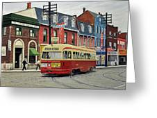 Streetcar On Queen Street 1963 Greeting Card by Kenneth M  Kirsch