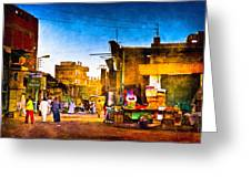 Streets Of An Egyptian Village Greeting Card by Mark Tisdale