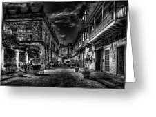 Streets Of Havana Bw Greeting Card by Erik Brede
