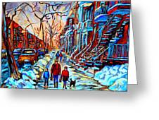 Streets Of Montreal Greeting Card by Carole Spandau