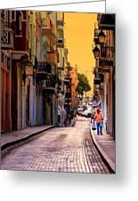 Streets Of San Juan Greeting Card by Karen Wiles