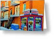 Streets Of Verdun Corner Depanneur Proprio Staircases In Winter Montreal City Scene Carole Spandau Greeting Card by Carole Spandau