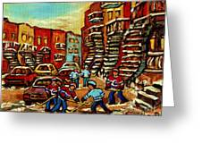 Streets Of Verdun Paintings He Shoots He Scores Our Hockey Town Forever Montreal City Scenes Greeting Card by Carole Spandau
