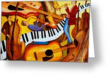 Strings And Things Greeting Card by Larry Martin