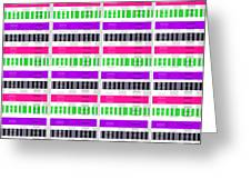 Stripe and Check Greeting Card by Louisa Hereford