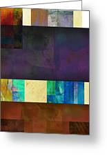 Stripes And Squares - Abstract -art Greeting Card by Ann Powell