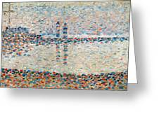 Study For The Channel At Gravelines Evening Greeting Card by Georges Pierre Seurat