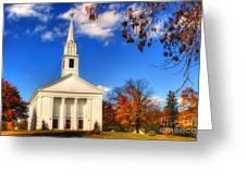 Sturbridge Church In Autumn Greeting Card by Joann Vitali