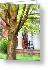 Suburbs - Rocking Chair On Porch Greeting Card by Susan Savad