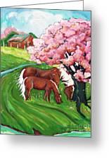Sugar Creek Horses 2 Greeting Card by MarLa Hoover