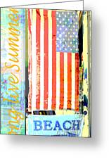 Summer And Beach Americana Greeting Card by Adspice Studios