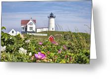 Summer At Nubble Light Greeting Card by Eric Gendron