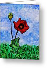Summer Day Poppy Greeting Card by Sarah Loft