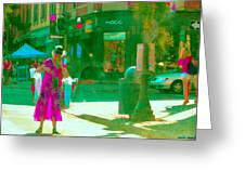 Summer Heatwave Too Hot To Walk Lady Hailing Taxi Cab At Hogg Hardware Rue Sherbrooke Carole Spandau Greeting Card by Carole Spandau