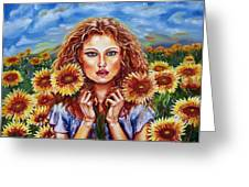 Summers Sunflowers  Greeting Card by Yelena Rubin
