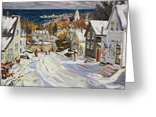 Summit Avenue In Winter Greeting Card by Chris Coyne
