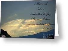 Sun Rays 1 Peter Chapter 4 Verse 8 Greeting Card by Jannice Walker