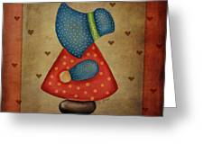Sunbonnet Sue In Red And Blue Greeting Card by Brenda Bryant