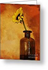 Sunflower In A Brown Bottle Greeting Card by Marsha Heiken